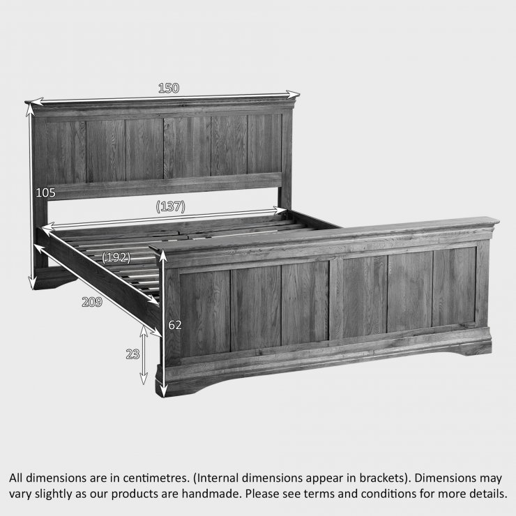"""French Farmhouse Solid Oak 4ft 6"""" Double Bed"""