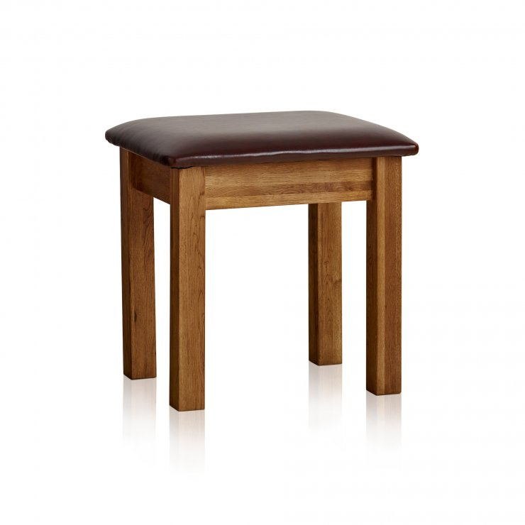 French Farmhouse Rustic Solid Oak Dressing Table Stool - Image 3