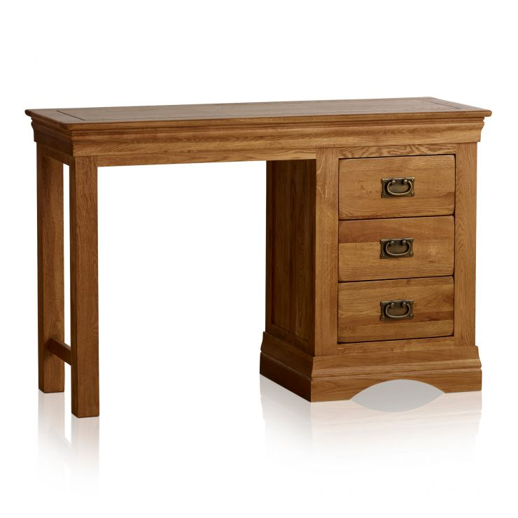 French Farmhouse Rustic Solid Oak Dressing Table - Image 5