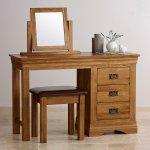 French Farmhouse Rustic Solid Oak Dressing Table Set - Thumbnail 2