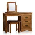 French Farmhouse Rustic Solid Oak Dressing Table Set - Thumbnail 1