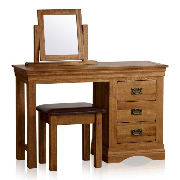 French Farmhouse Rustic Solid Oak Dressing Table Set