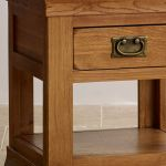 French Farmhouse Rustic Solid Oak Lamp Table - Thumbnail 4