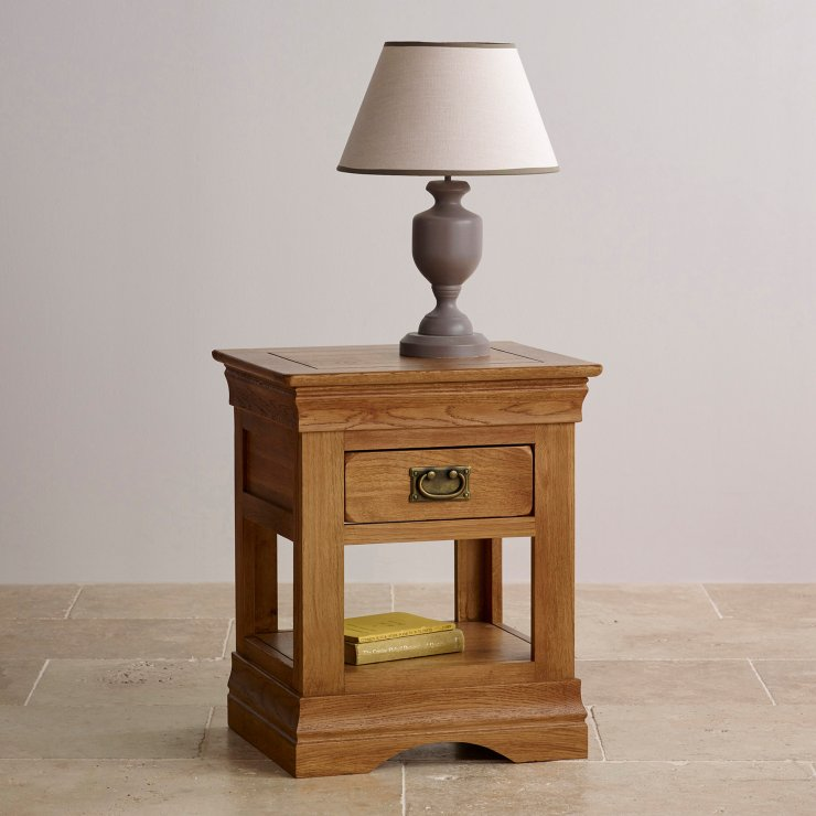 French Farmhouse Rustic Solid Oak Lamp Table