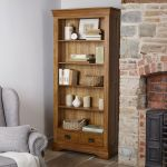 French Farmhouse Rustic Solid Oak Tall Bookcase - Thumbnail 3