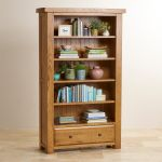 Hercules Rustic Solid Oak Tall Bookcase - Thumbnail 4