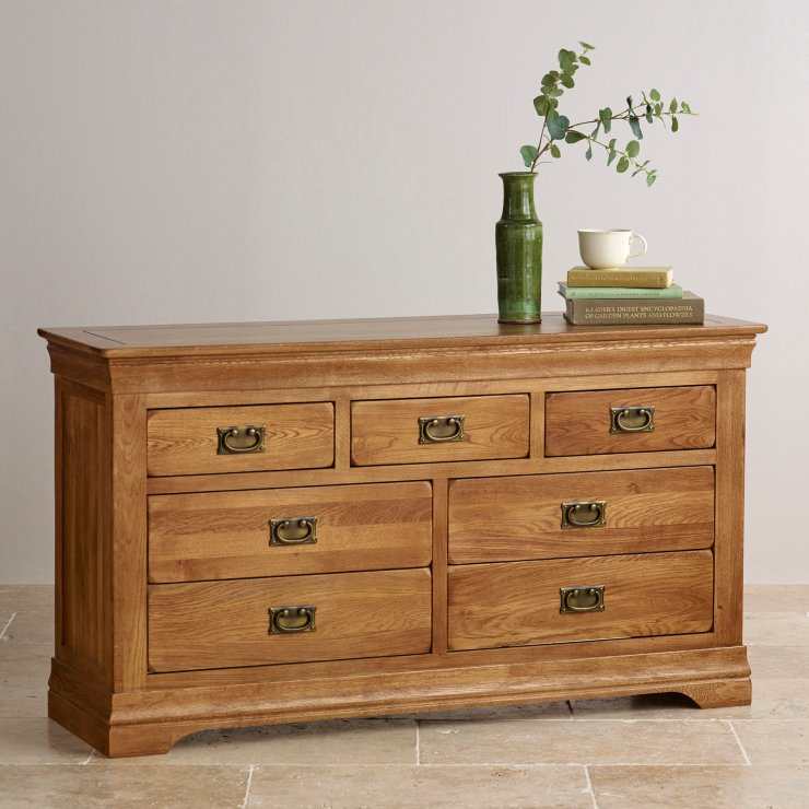 French Farmhouse Rustic Solid Oak 3+4 Drawer Chest