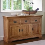 French Farmhouse Rustic Solid Oak Large Sideboard - Thumbnail 2