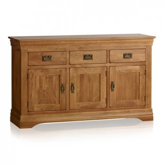 French Farmhouse Rustic Solid Oak Large Sideboard