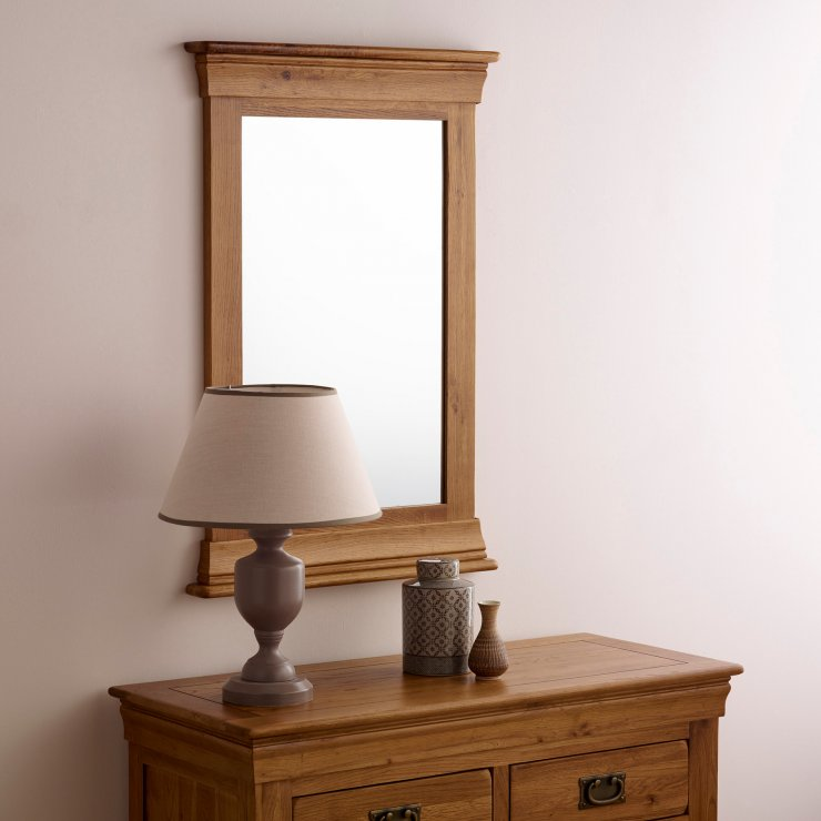 French Farmhouse Rustic Solid Oak 900mm x 600mm Wall Mirror