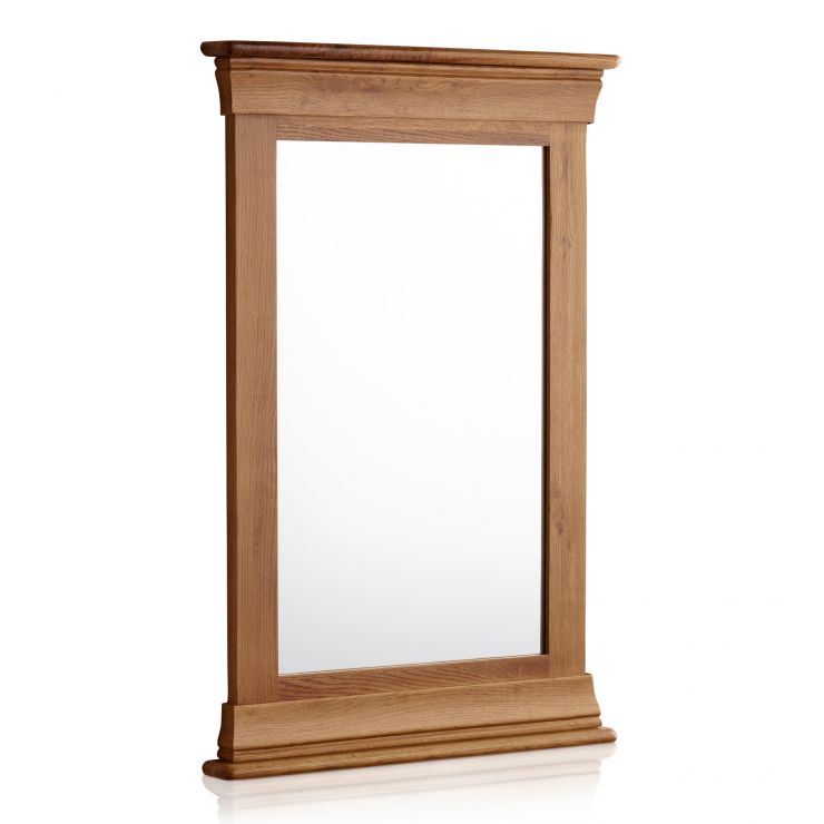 French Farmhouse Rustic Solid Oak 900mm x 600mm Wall Mirror - Image 4