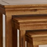 French Farmhouse Rustic Solid Oak Nest of Tables - Thumbnail 3