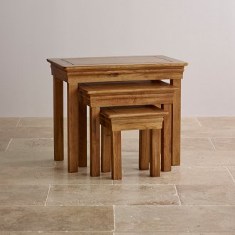 French Farmhouse Rustic Solid Oak Nest of Tables