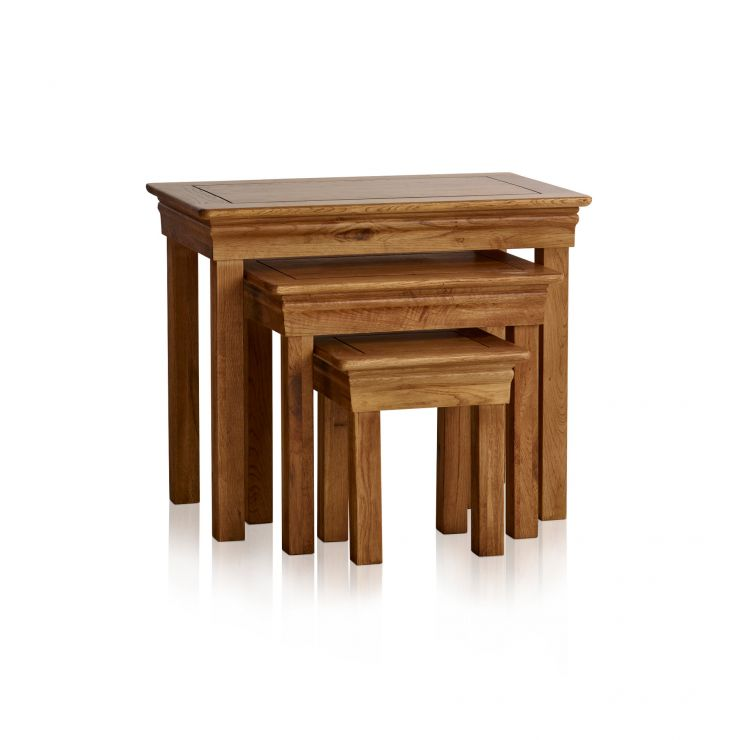 French Farmhouse Rustic Solid Oak Nest of Tables - Image 5