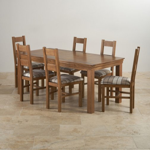 French Farmhouse Rustic Oak Dining Set - 6ft Table with 6 Farmhouse and Check Brown Dining Chairs