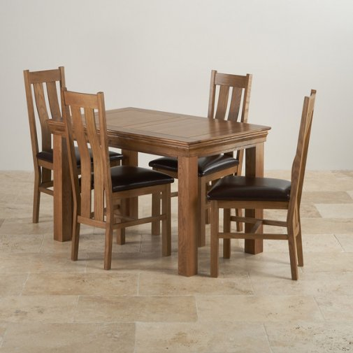 French Farmhouse Rustic Solid Oak Dining Set - 4ft Table with 4 Arched Back and Brown Leather Chairs