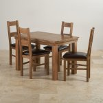 French Farmhouse Rustic Solid Oak Dining Set - 4ft Table with 4 Farmhouse and Brown Leather Chairs - Thumbnail 2