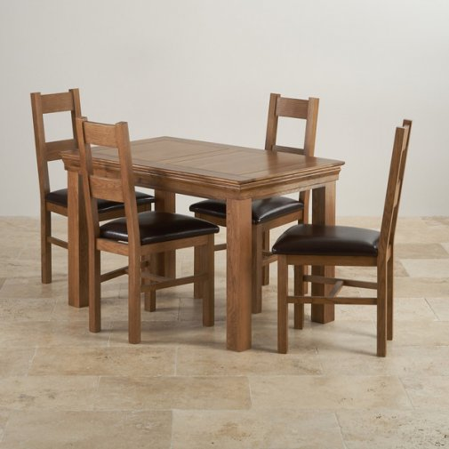 French Farmhouse Rustic Solid Oak Dining Set - 4ft Table with 4 Farmhouse and Brown Leather Chairs