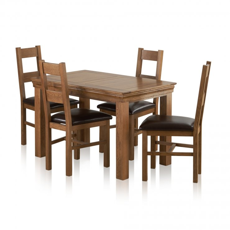 French Farmhouse Rustic Solid Oak Dining Set - 4ft Table with 4 Farmhouse and Brown Leather Chairs - Image 6