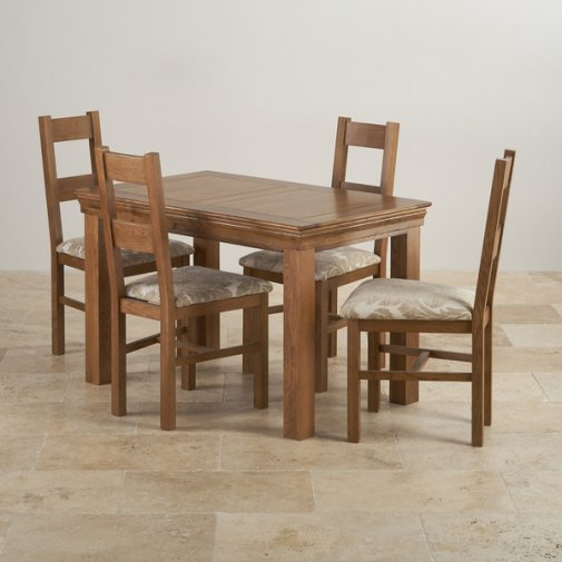 French Farmhouse Rustic Oak Dining Set - 4ft Table with 4 Farmhouse and Patterned Beige Fabric Chair