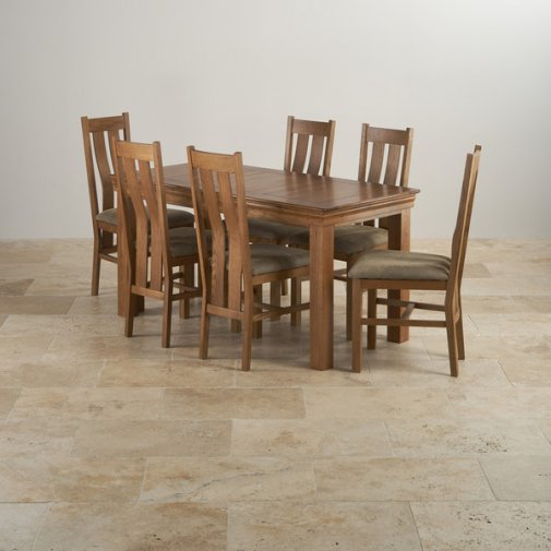 French Farmhouse Rustic Oak Dining Set - 5ft Table with 6 Arched Back and Plain Sage Fabric Chairs