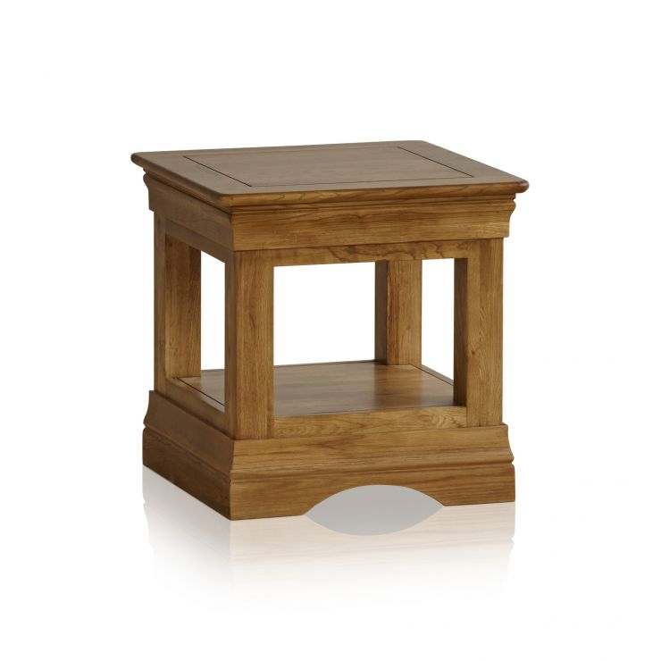 French Farmhouse Rustic Solid Oak Side Table - Image 1