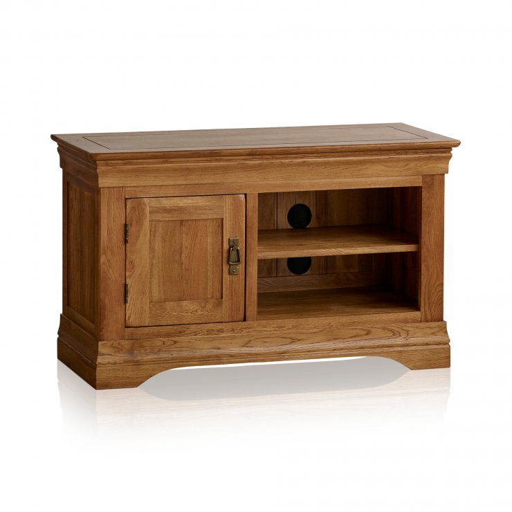 French Farmhouse Rustic Solid Oak Small TV Cabinet - Image 5