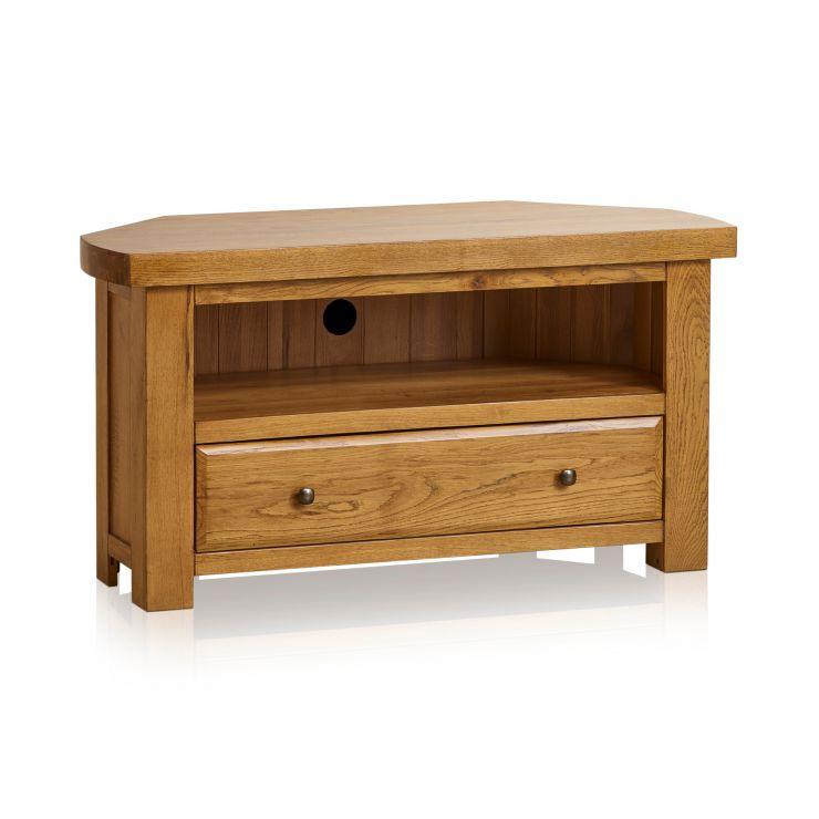 Hercules Rustic Solid Oak Corner TV Cabinet