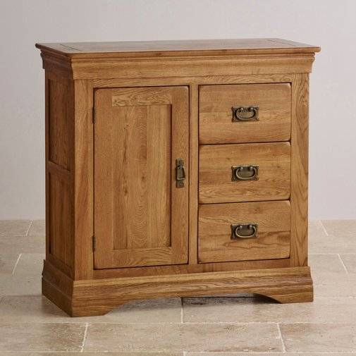 French Farmhouse Rustic Solid Oak Storage Cabinet