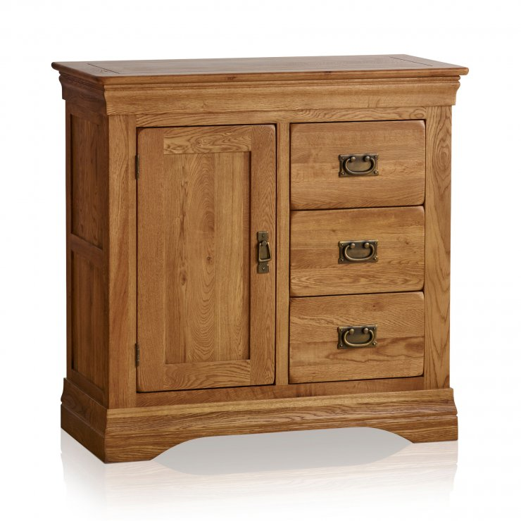 French Farmhouse Rustic Solid Oak Storage Cabinet - Image 4