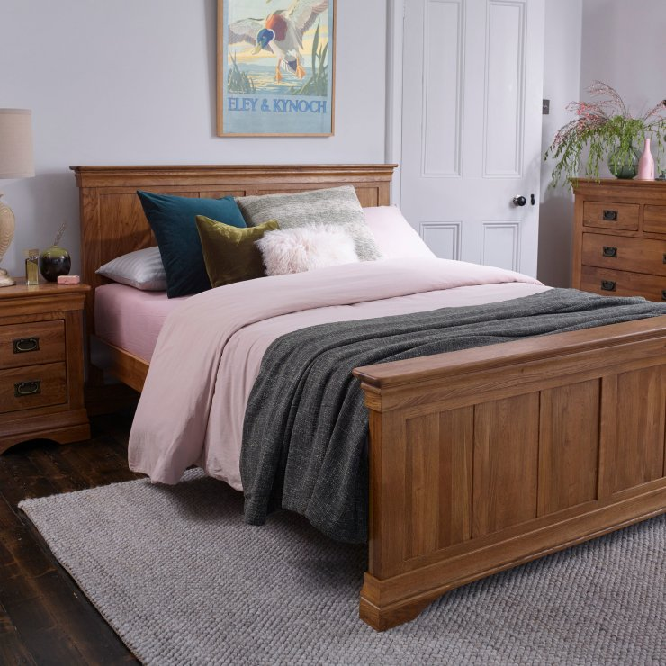 French Farmhouse Rustic Solid Oak 6ft Super King-Size Bed