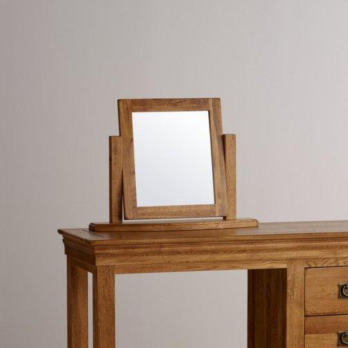 French Farmhouse Rustic Solid Oak Dressing Table Mirror