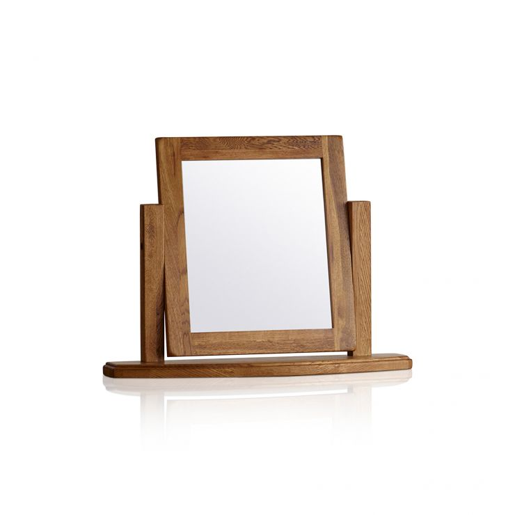 French Farmhouse Rustic Solid Oak Dressing Table Mirror - Image 4