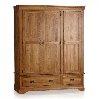 French Farmhouse Rustic Solid Oak Triple Wardrobe