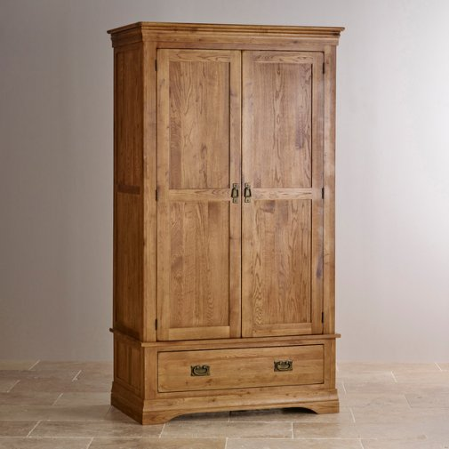 French Farmhouse Rustic Solid Oak Double Wardrobe