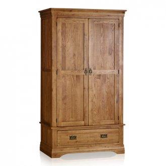 French Farmhouse Rustic Solid Oak Double Wardrobe