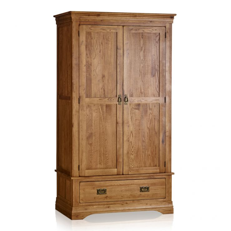 French Farmhouse Rustic Solid Oak Double Wardrobe - Image 5