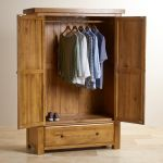 Hercules Rustic Solid Oak Double Wardrobe - Thumbnail 4