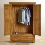 Hercules Rustic Solid Oak Double Wardrobe - Thumbnail 5