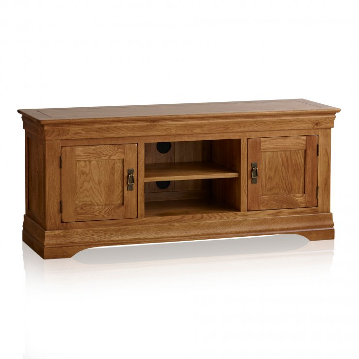 French Farmhouse Rustic Solid Oak Large TV Cabinet - Image 5