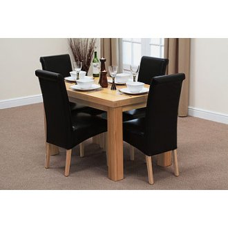 """Fresco 4ft x 2ft 6"""" Solid Oak Dining Table + 4 Black Leather Scroll Back Chairs"""