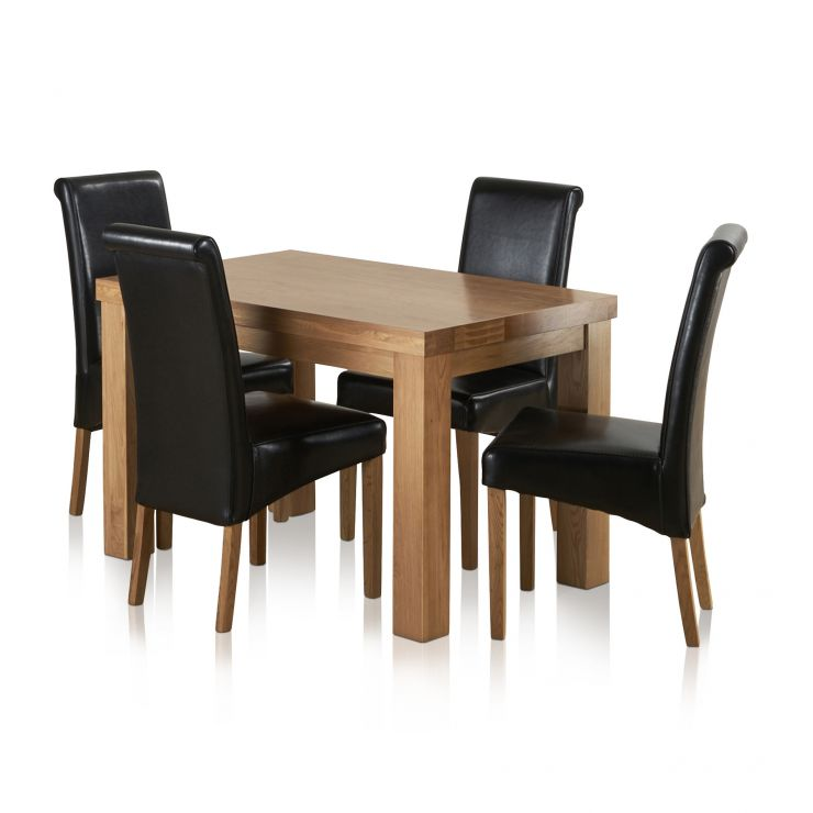 "Fresco 4ft x 2ft 6"" Solid Oak Dining Table + 4 Black Leather Scroll Back Chairs - Image 8"