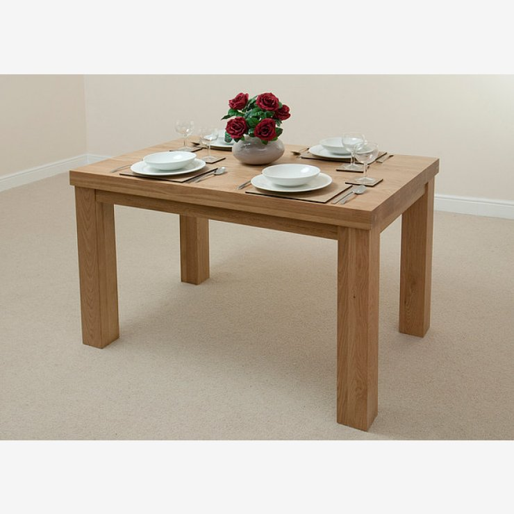 """Fresco 4ft x 2ft 6"""" Solid Oak Dining Table + 4 Cream Leather Scroll Back Chairs"""