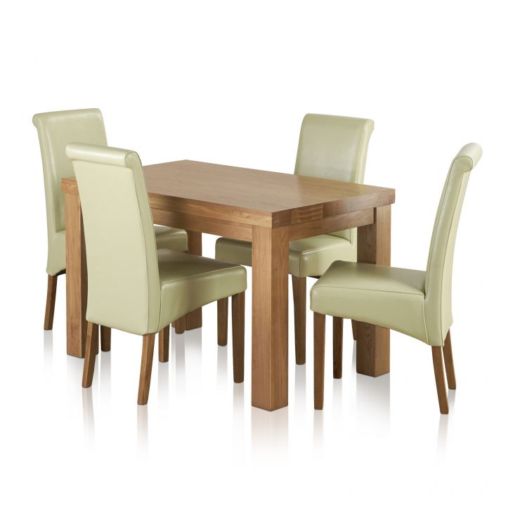 "Fresco 4ft x 2ft 6"" Solid Oak Dining Table + 4 Cream Leather Scroll Back Chairs - Image 8"