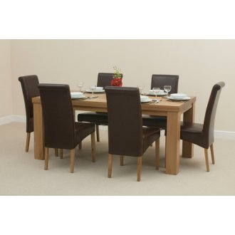 Fresco 6ft x 3ft Solid Oak Dining Table + 6 Brown Scroll Back Leather Chairs