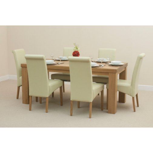 Fresco 6ft x 3ft Solid Oak Dining Table + 6 Cream Scroll Back Leather Chairs
