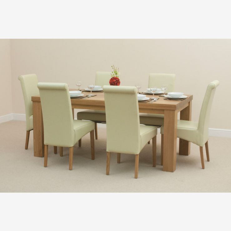 Fresco 6ft x 3ft Solid Oak Dining Table + 6 Cream Scroll Back Leather Chairs - Image 7