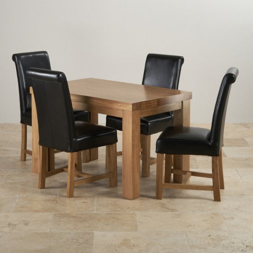 Fresco Natural Solid Oak Dining Set - 4ft Table + 4 Leather Chairs