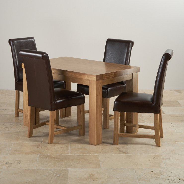 Fresco Natural Solid Oak Dining Set - 4ft Table with 4 Braced Scroll Back Brown Leather Chairs
