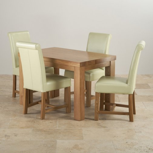 Fresco Natural Solid Oak Dining Set - 4ft Table with 4 Braced Scroll Back Cream Leather Chairs